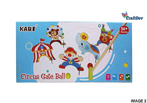 CraftDev Wooden Cartoon Circus Croquet Game Set Gate Ball | Mini Golf Set | Pretend Play Toys for Kids and Preschoolers 3+ Years (Random Colours)