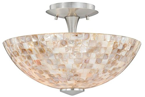 Art Glass Ceiling Light (Vaxcel C0006 Milano Ceiling Light with Mosaic Shell Glass, 13