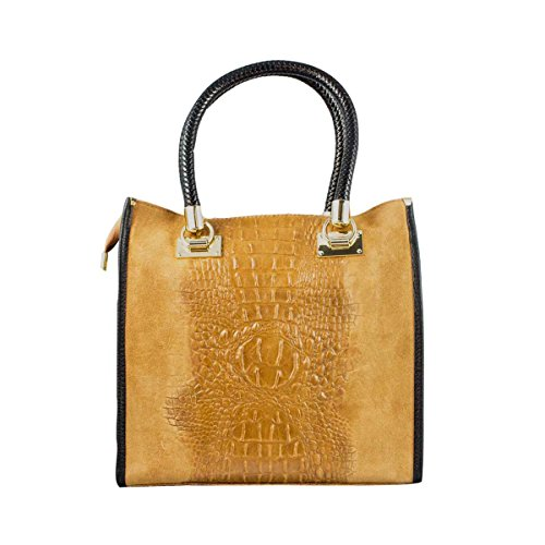 (COSIMA LEONE - Leather Bag, Model ZAIRA, Camel Color)