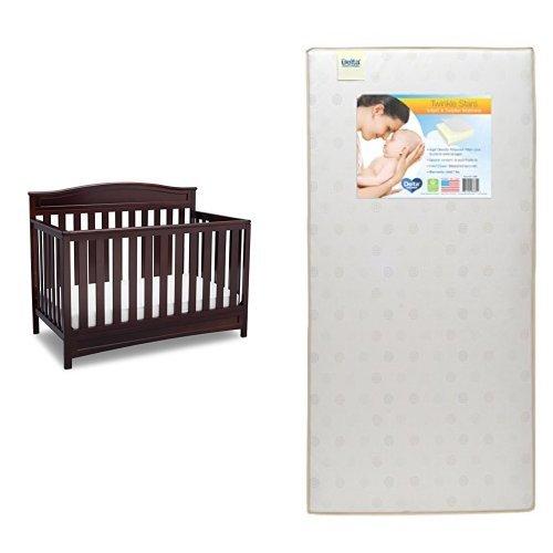 Delta Children Emery 4-in-1 Crib, Dark Chocolate with Twinkle Stars Crib & Toddler Mattress