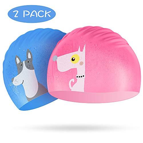 Kids Swim Cap 2 Pack, Silicone Swimming Cap (Pink + Blue for Girls Boys) - Elastic Waterproof Swim Hat for Toddler Age 3-10