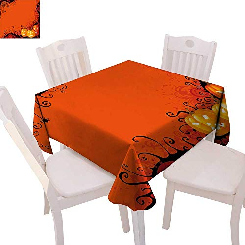 cobeDecor Spider Web Printed Tablecloth Three Halloween Pumpkins Abstract Black Web Pattern Trick or Treat Flannel Tablecloth 60