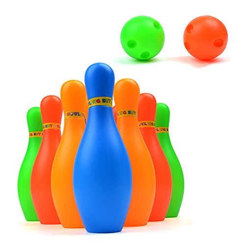 Kids Bowling Play Set, Plastic Ball Toy Gifts, Educational, Early Development, Sport, Indoor Toys, 10 Pins and 2 Balls for Ages 2, 3, 4, 5 Year Olds Children, Toddlers, Boys, Girls (S - 4.3INCH)