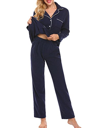Ekouaer Women's Classic Pajamas Set Long Sleeve and Button-Down Sleepwear(Navy,L)
