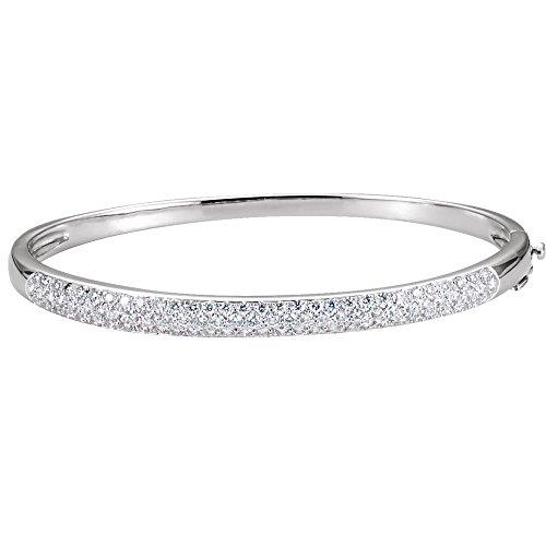 (14k White Gold Diamond Bangle Bracelet 1 1/2ct)