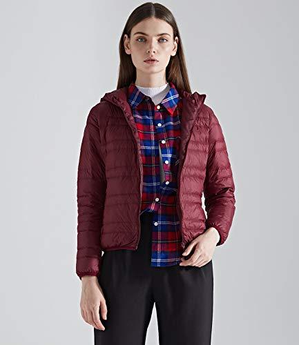 Outwear Light Women's Coats Burgundy Warm Down Ultra Puffer Jacket Down Hoodie Medeshe xp0qTE74wq