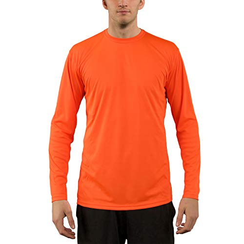 Vapor Apparel Men's UPF 50+ UV Sun Protection Performance Long Sleeve T-Shirt Large Safety Orange