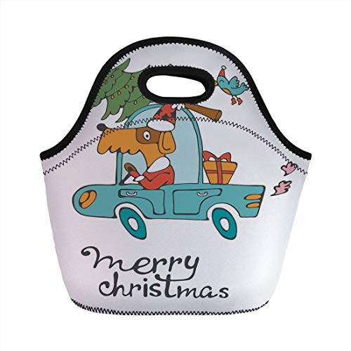 Christmas,Blue Vintage Car Dog Driving with Santa Costume Cute Bird Tree and Gift Present,White Multi,for Kids Adult Thermal Insulated Tote Bags -