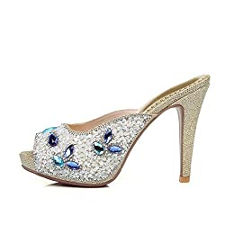 Peep-Toe With Rhinestone & High Heel Slipper