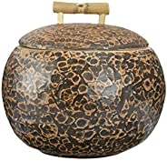 "Bloomingville Decorative 6"" Round Coconut Shell Container with Lid, Bamboo Handle & Distressed Lacque"
