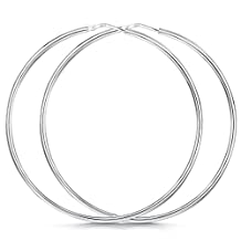 Amberta® 925 Sterling Silver Fine Circle Hinged Hoops - Round Creole Sleeper Earrings Diameter Size: 7 10 15 20 25 35 45 55 mm