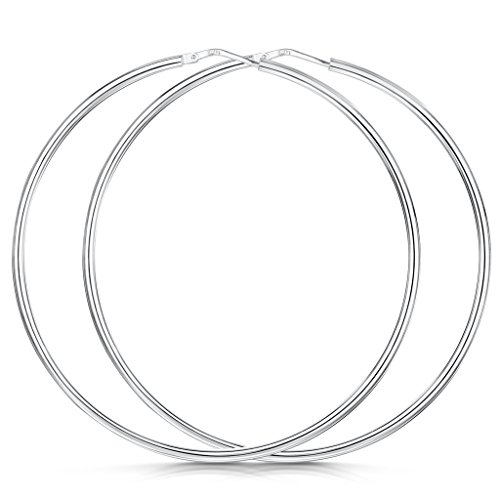White Swan Costume Diy (Amberta 925 Sterling Silver Fine Circle Hinged Hoops - Round Creole Sleeper Earrings Diameter Size: 7 10 15 20 25 35 45 55 mm (55mm))