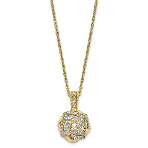 ICE CARATS 10k Yellow Gold Tiara Collection Diamond Chain Necklace Fine Jewelry Gift Valentine Day Set For Women Heart