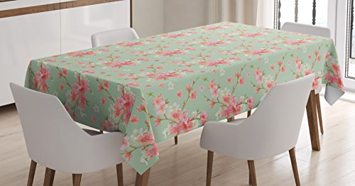 Ambesonne Shabby Chic Tablecloth, Retro Spring Blossom Flowe
