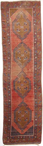 RugInRoll Turkish Hand-Knotted Anatolia Pattern, Runner Design, Wool, Antique, Handmade Area Rug, (3'10