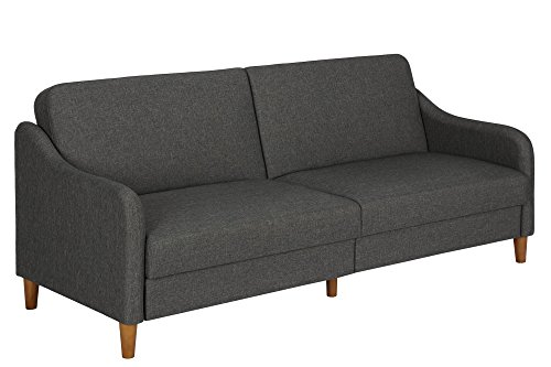 Position Futon - DHP Jasper Linen Upholstered Coil Futon, Multi-Position Back, Converts to Sleeper, Grey