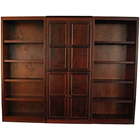 KT Series 15 Shelf Bookcase With Doors Dimensions 91 W X 17 125 D X 72 H Weight 322 Lbs Cherry