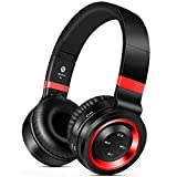 Sound Intone Bluetooth Headphones wireless, 8 Hrs Playtime Hi-Fi Bass Foldable Headphones Over Ear, Comfortable Headsets with HD Mic, Support Wired/TF Card/FM Radio for Gym/Work/Travel(black red)