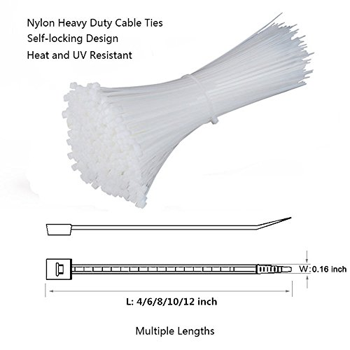 Self Locking Nylon Cable Zip Ties,4 6 8 10 12 Inches,Width 0.16inch,500Pcs HeavyDuty Wire Tie Wraps for Home,Office,Garden,Garage,Workshop (White) by NewMainone (Image #1)