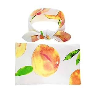 ClorisAccessory Newborn Baby Swaddling & Receiving Blanket and Hair Bow Headband Set (Fruit Print)