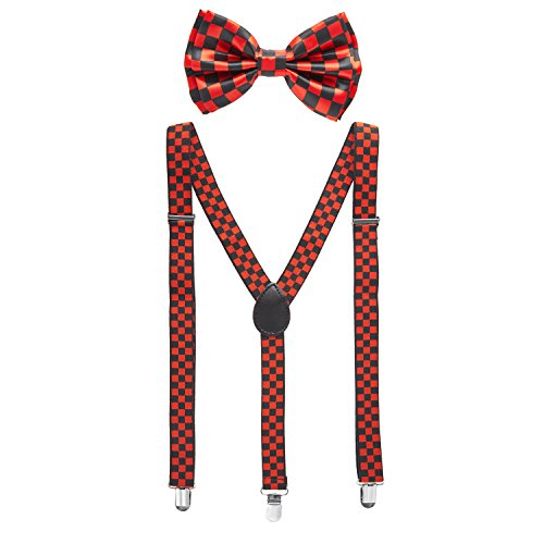 Man of Men - Men's Black & Red Checkered Bowtie & Suspender Set