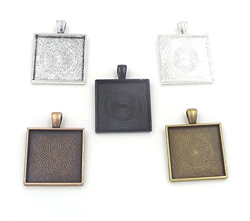 20 Deannassupplyshop Square Pendant Trays - Multicolors - 1 Inch - 25mm - Pendant Blanks Cameo Bezel Settings Photo Jewelry - Custom Jewelry Making - 1