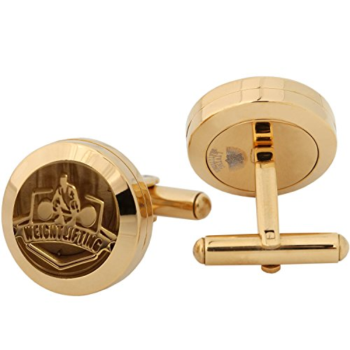 Celtic Link Gold (Aromatherapy Essential Oil Diffuser Cufflinks for Sports Fans with Colored Hypo-Allergenic Pads. Wear Your Favorite Aroma Fragrance All Day. (Weight Lifting, stainless-steel-and-gold))