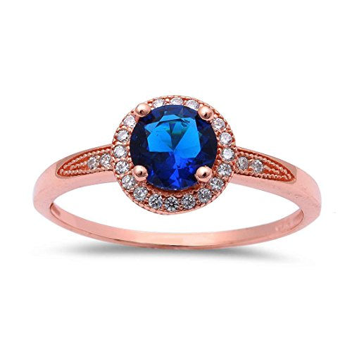 Rose Ring Sapphire (Halo Solitaire Accent Wedding Ring Round Simulated Sapphire Round CZ Rose Tone Plated 925 Sterling Silver)