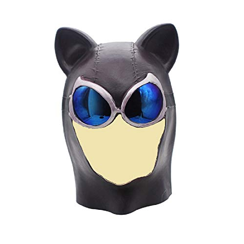 Batman Superhero Co Feline Femme Fatale Catwoman Batgirl Deluxe Latex Cosplay Masquerade Full Head Mask (A) -