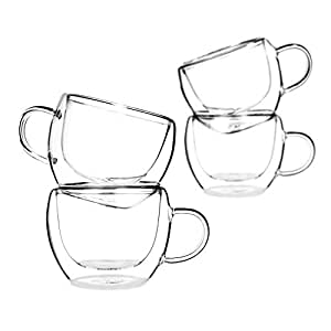 Tealyra - UNIVERSE 8-ounce - Set of 4 - Double Wall Glasses With Handle - Espresso Coffee - Tea - Cappuccino - Clear Cups - Heatproof Insulating - Keeps Beverages Hot - 230ml