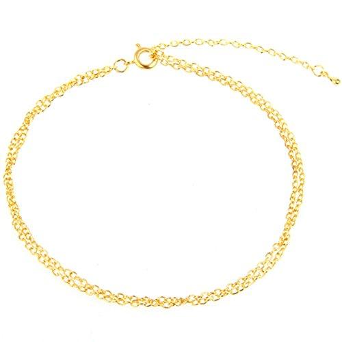 Chaîne Bracelet de Pied Cheville Couleur Or Femme 2mm