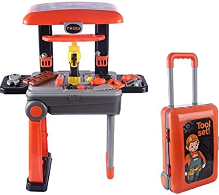 2 in 1 Deluxe Tool Play Set, Pretend Play Luggage Tool Kit