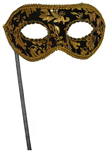 Men's Masquerade Christmas Halloween Ball Party Half Face Masks on Stick (Black) -