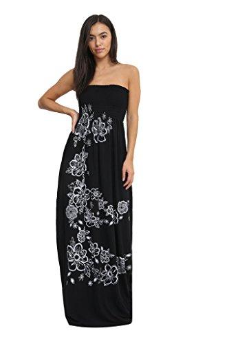 Floral Fashion Chunky Sheering Boob Maxi Ditzy Women's Black Tube Dress Plain zqFcdgdyw