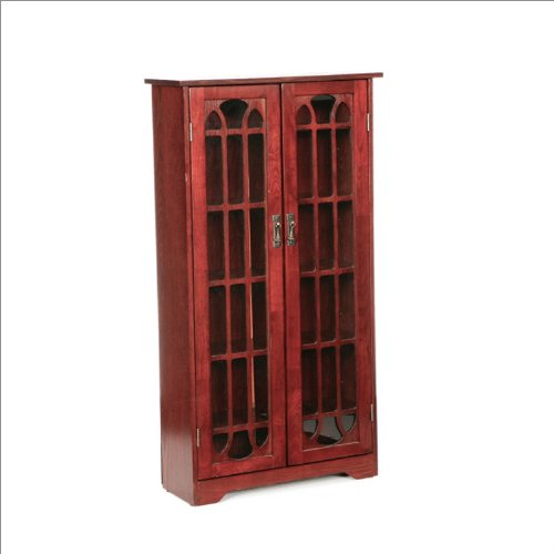 Southern Enterprises Window Pane Media Cabinet in Cherry
