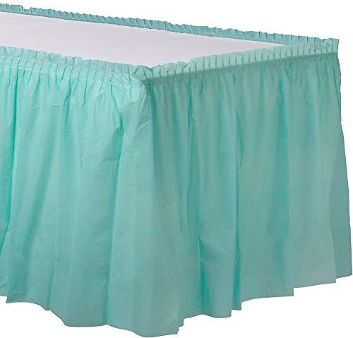 amscan Robin's-Egg Blue Pleated Plastic Table Skirt | Party Tableware]()