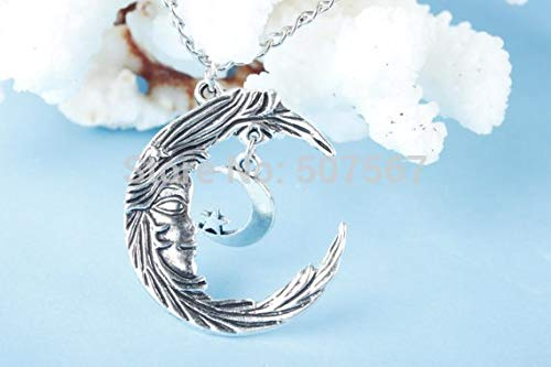 (Moon Star Necklace,Charm Necklace,Retro Silver Star and Crescent Moon Necklace)