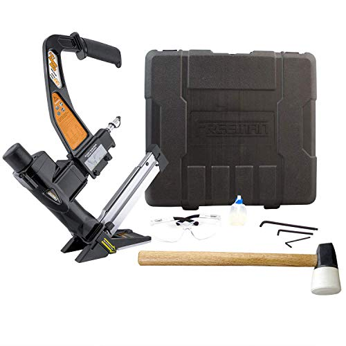 Freeman PFL618BR Pneumatic 3-in-1 15.5-Gauge and 16-Gauge 2″ Flooring Nailer and Stapler with Case Ergonomic and Lightweight Nail Gun for Flooring with Padded Grip Long Reach Handle (Renewed)