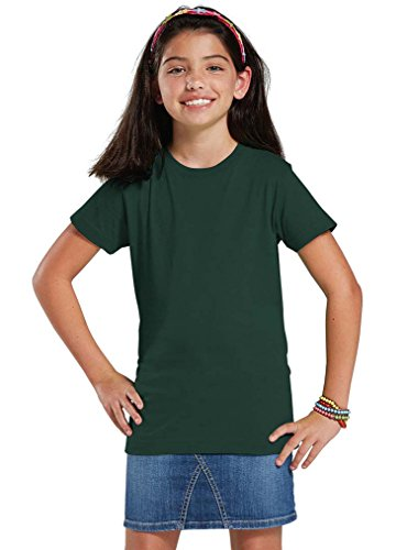 LAT Apparel Girls 100% Cotton Fine Jersey Tee with Ribbed Collar [Medium] Forest Green (Forest Ribbed)