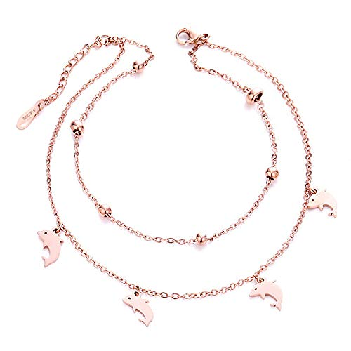 D.Rosse Woman Stainless Steel Daisy Flowers Bell Heart Anklet Rose Gold Adjustable 250mm Double-Deck Ankle Bracelet Girls Gift (Rose Gold - Dolphin)
