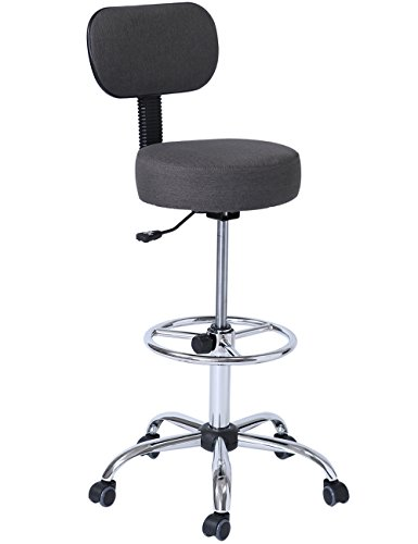 SUPERJARE Drafting Stool with Adjustable Foot Rest, Rolling Chair w' Back Cushion, Dark Gray by SUPERJARE