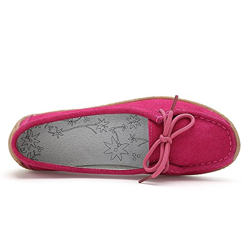 9802hong39 Women's Suede Leather Lace Up Flats Red US 8