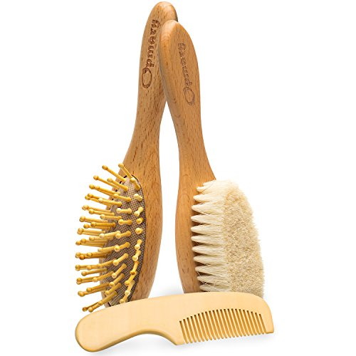 Wooden Baby Hair Brush and Comb Set with Natural Goat Bristles   Soothing Cradle Cap Brush + Wooden Bristles Massage Brush & Comb for Newborns and Toddlers Perfect Baby Sower & Registry Gift