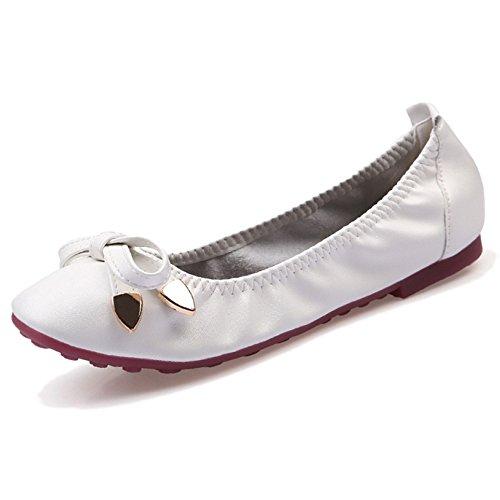 Moda Arco Mujer Cerrada Cerrado Barco Zapatos Cabeza Cuadrada De Microfibra Respirables Mocasines Banda Elástica Para Damas En El Vestido White