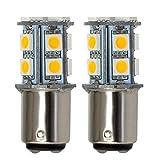 GRV Ba15d 1076 1142 High Power Car LED Bulb 13-5050SMD DC 12V Warm White Pack of 2