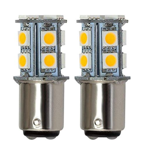 (GRV Ba15d 1076 1142 High Bright Car LED Bulb 13-5050SMD DC 12V Warm White Pack of 2)