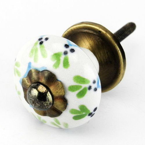 Painted Wide Cabinet (Painted Ceramic Cabinet Knob, Drawer Pulls & Handles Set/6pc ~ C62RLS Kitchen Drawer Pulls and Handles. Hand Glazed Ceramic Knobs with Antique Brass Hardware for Dresser, Drawers, Cabinets or Vanity)