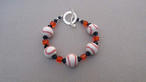 Orioles Baltimore Charm - San Francisco Giants or Baltimore Orioles Styled Ceramic Bracelet, Sterling Silver Clasp