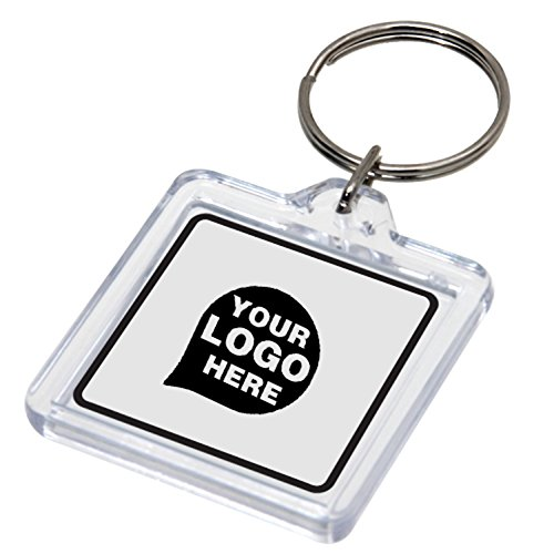 - Square Shaped Acrylic Key Chain - 12 Quantity - $14.25 Each - PROMOTIONAL PRODUCT / BULK / BRANDED with YOUR LOGO / CUSTOMIZED