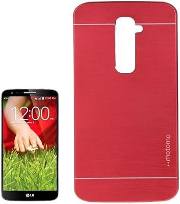 LG G2 - carcasa funda plástico rojo Efecto cepillado: Amazon ...